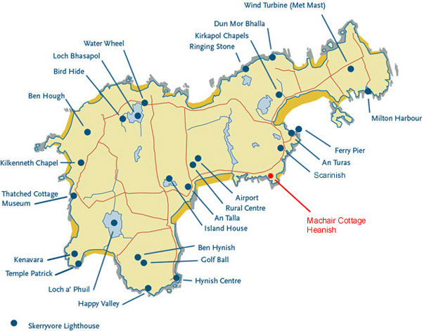 Map of Tiree with Machair Cottage