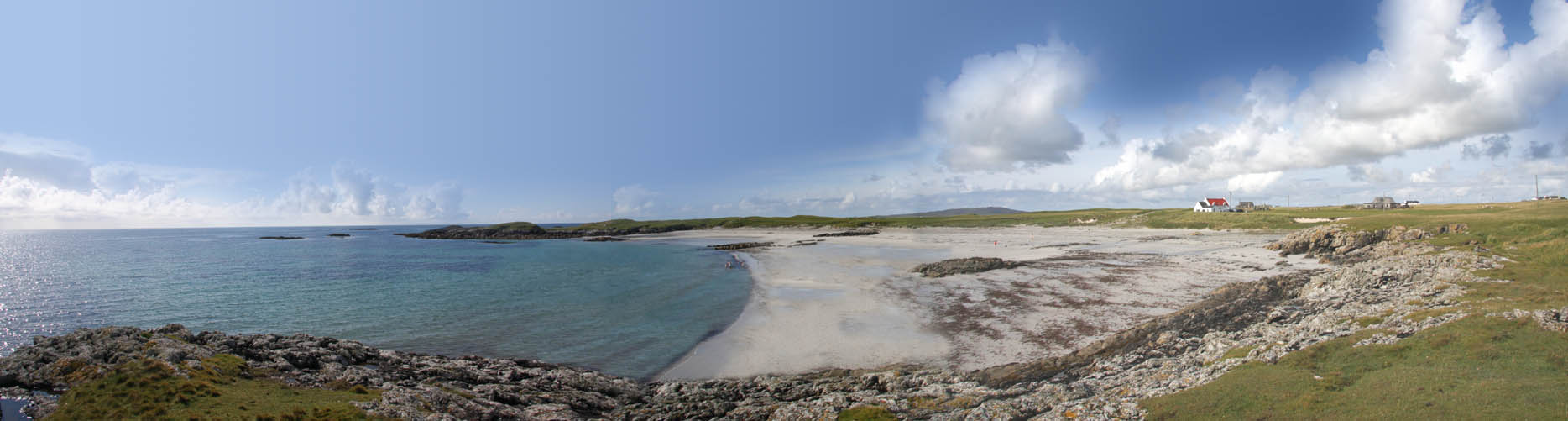 Wide-angle view of beach near our self catering cottage
