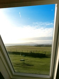 View across Hynish Ba,y Tiree from bedroom window